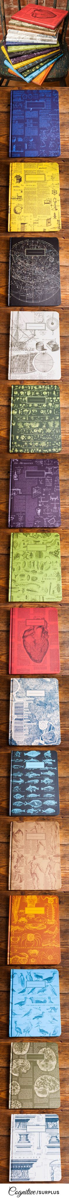 The pages are college ruled on one side and graph paper on the back! They make perfect gifts for all your science and math nerd friends. Each notebook tells its own story sporting vintage imagery and text from the first encyclopedia. Combination of two loves, vintagey awesomeness and a beautiful notebook