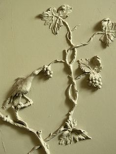 Hoho bird picking grapes, mid C18th  Just a small detail from the playful Rococo plasterwork