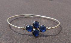 Blue Topaz Four Gemstone Attached Bangle Cuff by gemsnjewelryworld