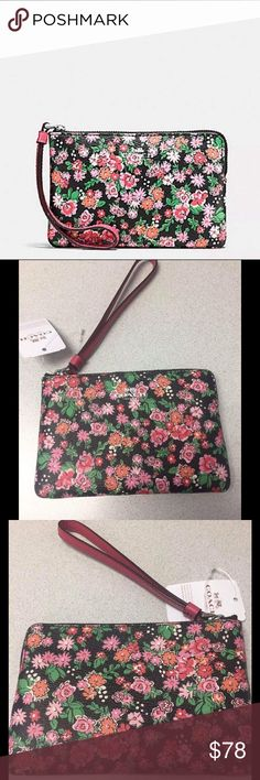 """Coach Corner Zip Wristlet in Posey Cluster Floral Coach Corner Zip Wristlet in Posey Cluster Floral Print Coated Canvas. Details -Printed coated canvas -Zip Closure, Fabric lining -Credit card pockets -Wrist strap attached -6.25"""" (L) x 4""""(H) Coach Bags Clutches & Wristlets"""