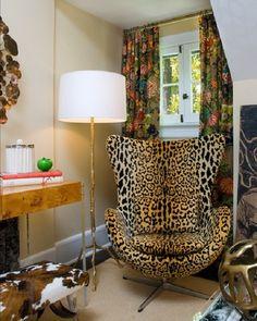 A Touch of Animal Design - Leopard Print Mid-century Modern Chair Animal Print Furniture, Animal Print Decor, Animal Prints, Leopard Prints, Cheetah Print, Leopard Chair, Interior Decorating, Interior Design, Nooks