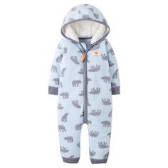 Baby Boys' Fleece Hooded Blue Bears Jumpsuit Just One You™ Made by Carter's®