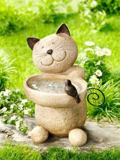 "Bird Bath ""Cat"" - Garden - Plants, Decoration & Tips - . Cement Crafts, Stone Crafts, Rock Crafts, Cat Garden, Garden Deco, Garden Art, Garden Crafts, Cat Lover Gifts, Stone Art"