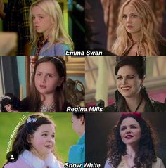 As a kid and as an adult. Emma Swan, Regina Mills, and Snow White Regina And Emma, Hook And Emma, Emma Swan, Once Upon A Time, Movies Showing, Movies And Tv Shows, Hook Ouat, Myth Stories, Lorien Legacies