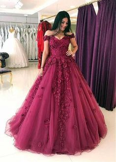 Cheap prom dresses lace appliques prom dresses ball gowns,tulle dress,off shoulder evening gowns Tulle Ball Gown, Ball Gowns Prom, Tulle Prom Dress, Ball Dresses, Lace Dress, Pageant Gowns, Gown Dress, Bridal Dresses Online, Cheap Prom Dresses