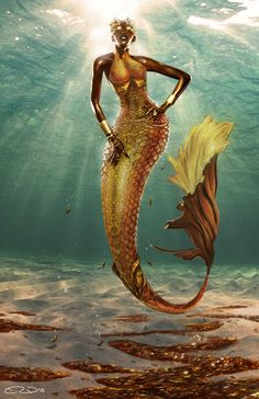 Treasure Mermaid by Evan Woolery Had an idea for an enchanted mermaid made out of treasure ever since the Pirates of the Caribbean movies came out. What if a mermaid was made out of treasure and whenever someone might see her she turns to treasure. Siren Mermaid, Black Mermaid, Mermaid Art, The Little Mermaid, Mermaid Images, Mermaid Paintings, Vintage Mermaid, Mermaid Tails, Black Girl Art
