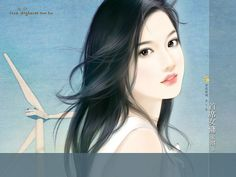 Sweet Charming Faces : Sweet Girls Paintings Wallpaper  20