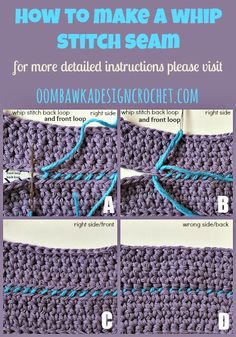 How To Join Crochet with a Whip Stitch Seam •✿• Teresa Restegui http://www.pinterest.com/teretegui/ •✿•