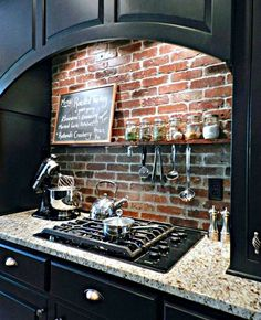 DIY Brick Backsplash - diy brick backsplash, concrete masonry, kitchen backsplash, kitchen design You are in the right plac - Kitchen Redo, Kitchen Dining, Kitchen Cabinets, Space Kitchen, White Cabinets, Kitchen Brick Backsplash, Travertine Backsplash, Beadboard Backsplash, Herringbone Backsplash