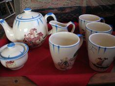 Farm Folk Art Tea Set w/ Tea Pot 32oz + Sugar + Creamer + 4 Mugs Pottery Barn