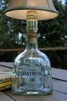 DIY Patron Tequila Bottle Lamp, but with a wine bottle. Patron Bottle Crafts, Liquor Bottle Crafts, Diy Bottle, Bottle Art, Patron Bottles, Patron Liquor, Tequila Bottles, Liquor Bottles, Bottles And Jars