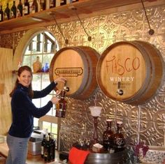 Article discusses interior design with custom wine barrel carvings in Hospitality sector. Wine inspired decoration and design ideas for wine oriented businesses Wine Barrel Wall, Barrel Bar, Caves, Winery Tasting Room, Wine Barrel Furniture, Home Wine Cellars, Wine Cellar Design, Home Bar Designs, Wine Decor