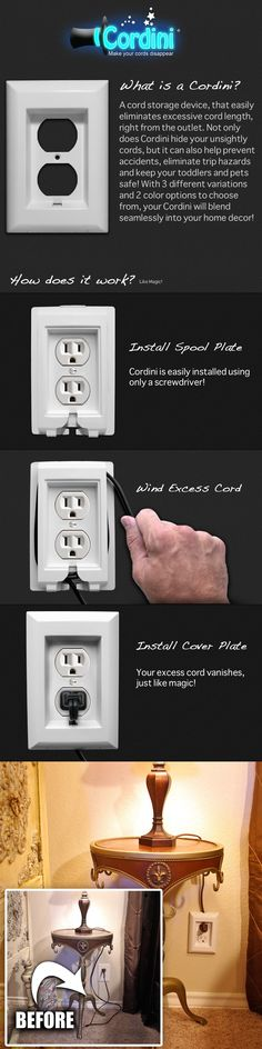Checkout the Cordini, a cord storage device, that easily eliminates excessive cord length, right from the outlet.