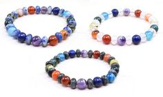 Featuring genuine agate with stone or wooden accents, this colorful stretchy chakra bracelet can be great to complement a casual look