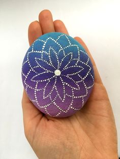 Mandala stone hand painted Dot painting Colorful art Big sea rock Round pebble Boho style decor element Cool gift for women Purple Blue
