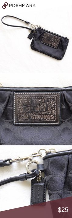 """Coach Poppy Wristlet ▪Measurements: Length: 6"""" Height: 4"""" ▪️The silver is slightly faded on the decorative design (shown in 2nd photo) ▪️Excellent condition! Coach Bags Clutches & Wristlets"""