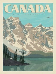 travel posters Anderson Design Group World Travel Canada: Canadian Rockies Kunst Poster, Poster S, Poster Layout, Poster Prints, Wall Posters, Photo Wall Collage, Picture Wall, Posters Canada, Wal Art