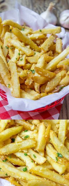 These Oven Baked Loaded Garlic French Fries from Dinner then Dessert are so good you guys! They are tossed in slightly warmed chopped garlic, olive oil and kosher salt and go with so many different dinner options.