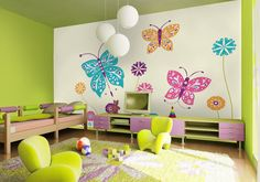 'Sugar N Spice butterflies' wall mural by Javier Velasco available at wallpapered.com
