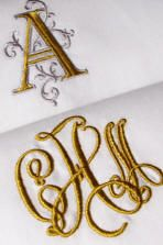 Our Signature Monograms available on fine linens, luxury table linens, and as monogrammed linen guest towels. www.bellalino.com