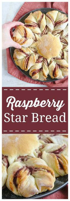 Raspberry Star Bread – A gorgeous Christmas bread perfect for breakfast! Homemade bread with layers for raspberry jam, twisted into this incredible treat! This pull-apart bread will be a huge hit for Christmas breakfast! #christmas #bread #raspberry #breakfast
