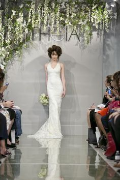 Danielle- Re-embroidered Chantilly lace mermaid gown with open back.