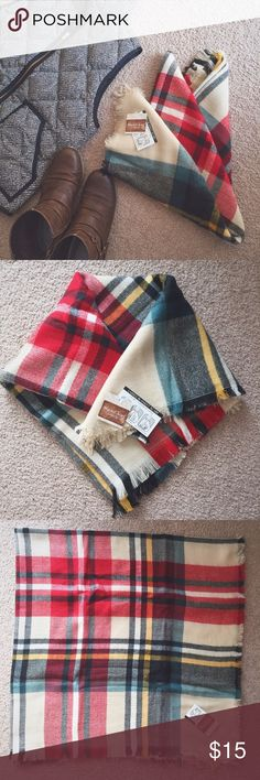 NWT Multi-Colored Plaid Blanket Scarf New with tags Multi-Colored Plaid Blanket Scarf!  It's about 53x53 inches, 100% acrylic. Recommended hand wash, lay flat to dry. Super popular, can be worn multiple ways!  It is VERY soft, but on the thin side (see Pic #4).  Colors include cream, black, green, red, and yellow.  Shoes not included, vest no longer available for purchase.  From a smoke free, pet free home. 🔹 Bundles receive 20% off 🔹 Target Accessories Scarves & Wraps