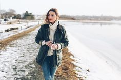 Jess Kirby wearing a Barbour Jacket with Turtleneck Sweater