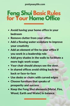 Some quick Feng Shui tips to turn your home office into a productive and peacefu. - Some quick Feng Shui tips to turn your home office into a productive and peaceful work space -