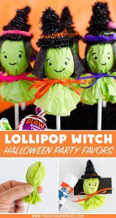 Adorable Lollipop Witches for Halloween Party Favors - Fun Loving Families These lollipop witches make the cutest Halloween party favors. Make a bunch to bring to the Halloween classroom party, or add them to your boo basket ideas! Halloween Tags, Diy Halloween Gifts, Halloween Gift Baskets, Classroom Halloween Party, Halloween Crafts For Toddlers, Halloween Treat Bags, Halloween Party Favors, Halloween Goodies, Diy Halloween Decorations