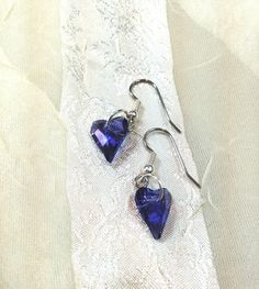 Heliotrope Blue-Purple Heart Earrings for Your Sweet Valentine by NorthCoastCottage Jewelry Design & Vintage Treasures on Etsy.com, $39.00