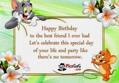 Happy Birthday To The Best Friend I Ever Had Let's Celebrate This Special Day Of Your Life And Party Like There's No Tomorrow Tom And Jerry Graphic