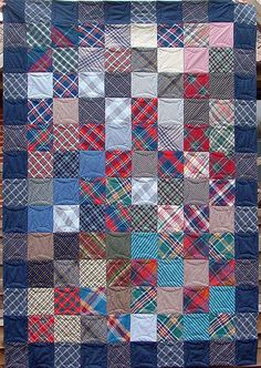 Plaid shirt quilt LOVE the quilting on this/instead of straight lines. Rita