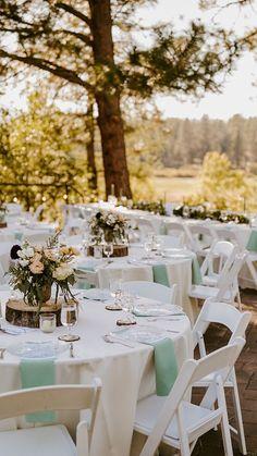 Outdoor Wedding Tables, Round Wedding Tables, Simple Wedding Reception, Simple Elegant Wedding, Outdoor Wedding Decorations, Wedding Table Settings, Wedding Chairs, Wedding Table Arrangements, Rustic Centerpiece Wedding