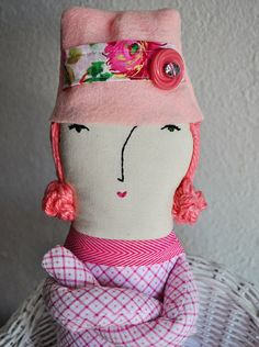 """RESERVED for Lynne S. - Cloth heirloom doll, pink, cotton, rag doll, art doll - """"Pippa Kendall"""""""