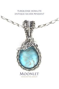 by MOONLET HANDCRAFTED JEWELRY Turquoise Howlite Antique Silver Pendant Necklace Wire Wrap Jewelry