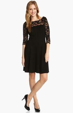 Karen Kane Lace Sleeve Fit & Flare Dress | Nordstrom