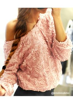 3D Rose Baby Pink  Top - Ruffled Rose Top Wear