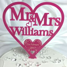 Bright Pink Mr & Mrs Cake Topper Personalised with ANY TITLES or NAMES in a Swirl Heart Design for Wedding or Anniversary.    Available in Mrs & Mrs or Mr & Mr for same sex / gay wedding / civil partnership.  All your gifts & keepsakes personalised just for you from Little Shop of Wishes