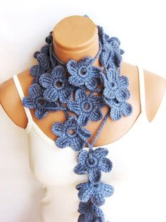 Pastel Blue Hand made crochet Flower Lariat by WomanStyleStore, $25.00