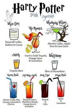 Funny pictures about Harry Potter Drink Specials. Oh, and cool pics about Harry Potter Drink Specials. Also, Harry Potter Drink Specials. Harry Potter Cocktails, Harry Potter Motto Party, Harry Potter Birthday, Harry Potter Adult Party, Alcoholic Drinks Harry Potter, Harry Potter Themed Wedding, Disney Cocktails, Harry Potter Marathon, Costume Harry Potter
