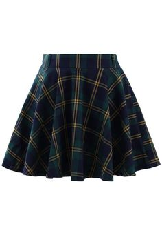 Green Plaid Check Skater Skirt- New Arrivals - Retro, Indie and Unique Fashion