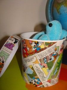 Ice cream pot becomes a storage container decorated with comics.