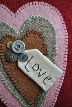 $13.95 Upcycled wool pillow for Valentine's Decor