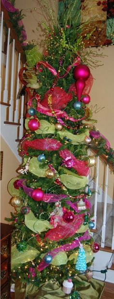 pink and green christmas tree.