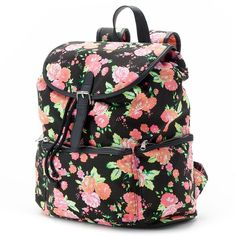 Candie's Nicole Floral Backpack (Green) ($19) ❤ liked on Polyvore featuring bags, backpacks, backpack, green, floral print backpack, canvas drawstring bag, flower print backpack, canvas bag and backpacks bags