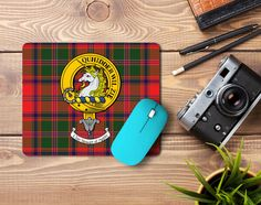 rubber mousemat with Stewart of Appin clan crest and tartan - only from ScotClans