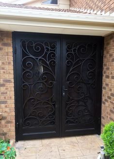 View our wrought large range of wrought iron products. From Wrought Iron Gates to Wrought Iron doors to Wrought Iron balustrades, we've got it all. Or visit our Melbourne showroom today! Wrought Iron Security Doors, Steel Security Doors, Wrought Iron Doors, Security Gates, Porch Doors, Garage Door Design, Double Entry Doors, Staircase Railings, Home Room Design