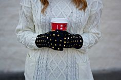Outfit | Baby It's Cold Outside | Gold Polka Dot Gloves and Beanie with Chunky Sweater | Kate Spade & Nordstrom