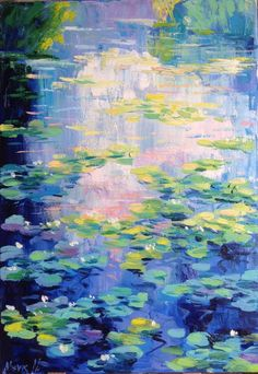 Early morning over the waterlily pond Painting Water Lilies Painting, Pond Painting, Lily Painting, Oil Painting Abstract, Monet Water Lilies, Abstract Art, Small Canvas Paintings, Monet Paintings, Landscape Art